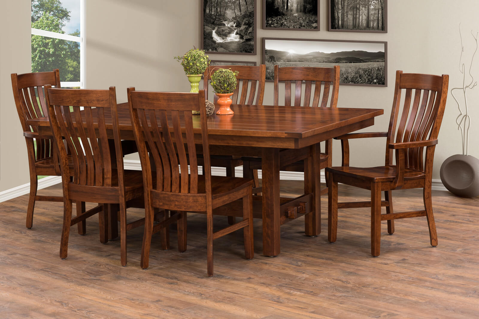 Traditional handcrafted dining table