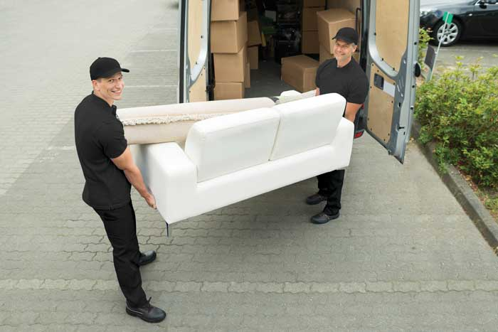 Delivery men with sofa