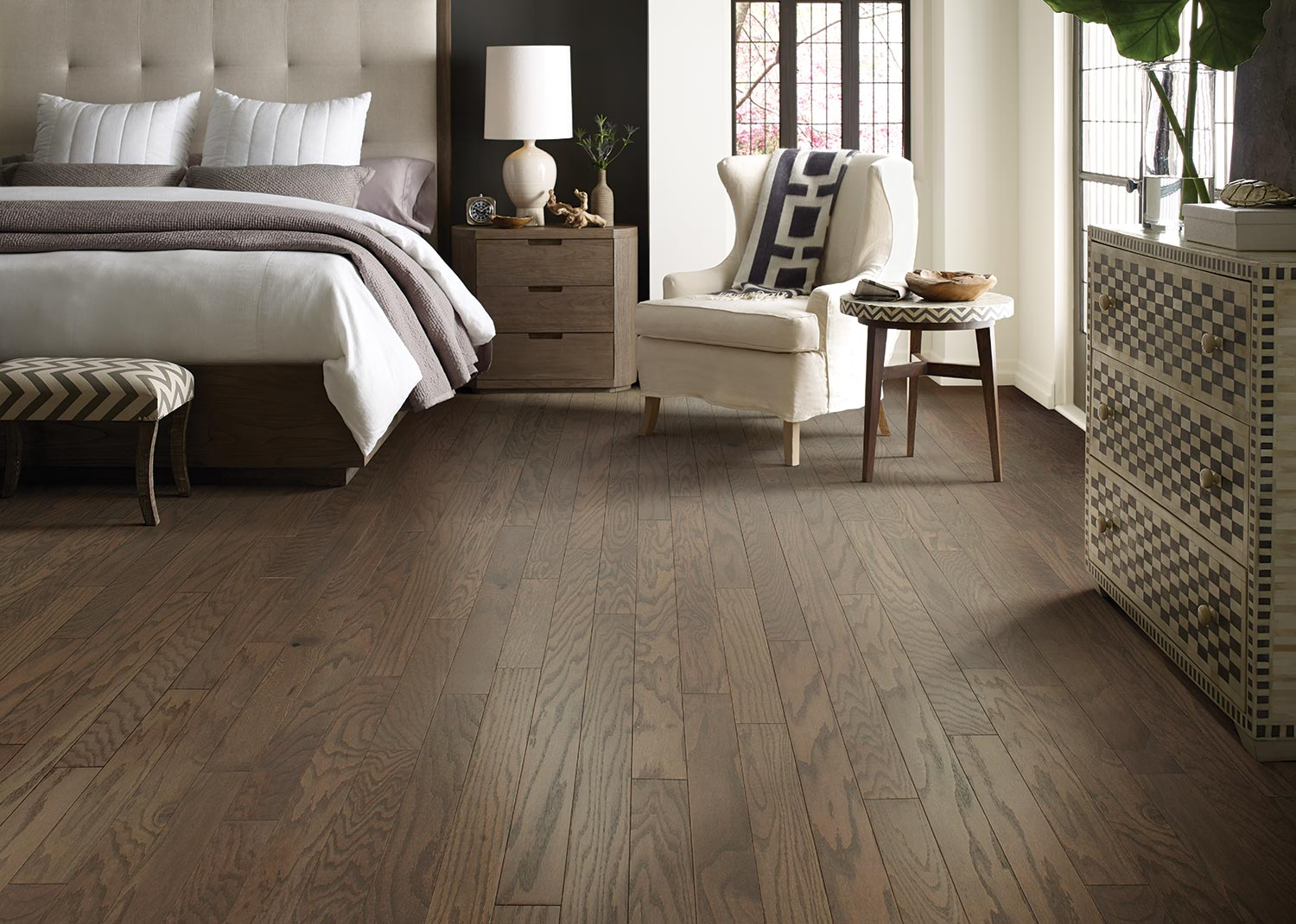 Wood flooring in bedroom
